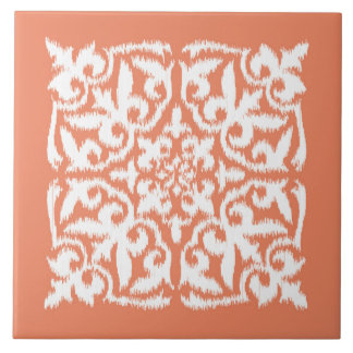 Ikat damask pattern - coral orange and white large square tile