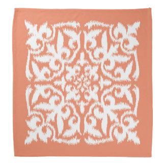 Ikat damask pattern - coral orange and white bandana
