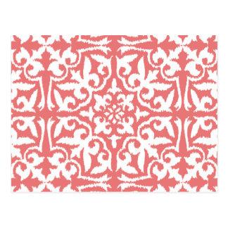 Ikat damask pattern - Coral Pink and White Postcard