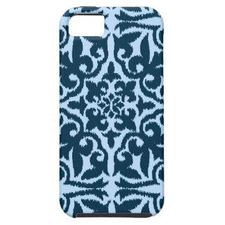 Ikat damask pattern - Dark Indigo and Light Blue iPhone SE/5/5s Case