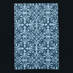 "Ikat damask pattern - Dark Indigo and Light Blue Kitchen Towel<br><div class=""desc"">Digital reproduction of a damask medallion pattern with a striated,  Ikat woven texture - dark indigo / navy blue on a soft sky blue background</div>"