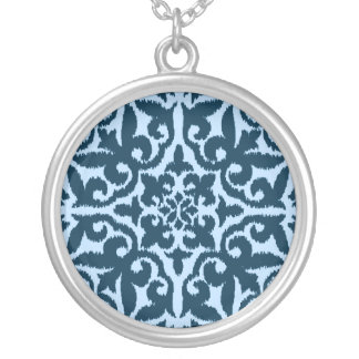 Ikat damask pattern - Dark Indigo and Light Blue Silver Plated Necklace
