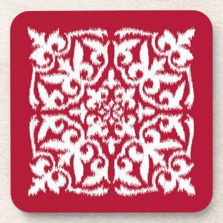 Ikat damask pattern - dark red and white beverage coaster