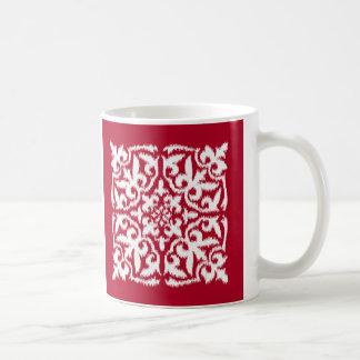 Ikat damask pattern - dark red and white coffee mug