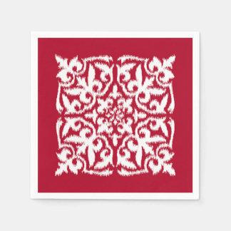 Ikat damask pattern - dark red and white napkin