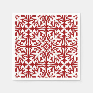 Ikat damask pattern - Dark Red and White Paper Napkin
