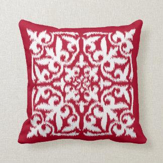 Ikat damask pattern - dark red and white throw pillow