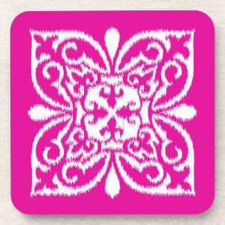 Ikat damask pattern - deep pink and white coaster