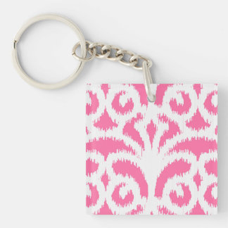 Ikat damask pattern - Fluorescent Pink Double-Sided Square Acrylic Keychain