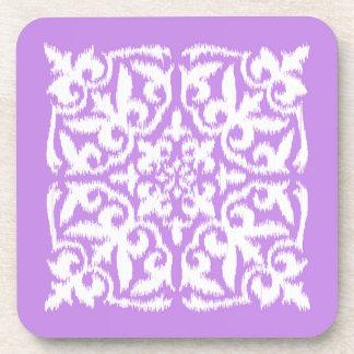 Ikat damask pattern - lavender and white coaster