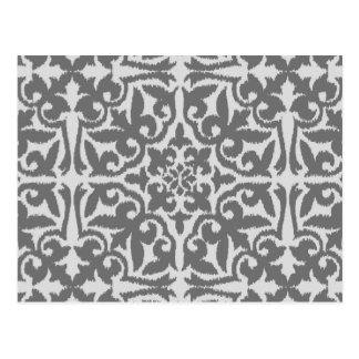 Ikat damask pattern - Light and Medium Grey Postcard