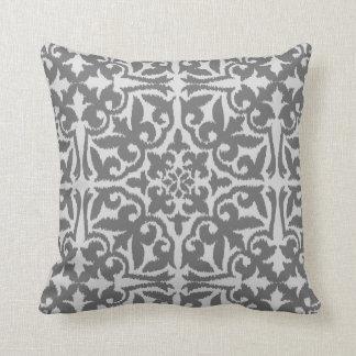 Ikat damask pattern - Light and Medium Grey Throw Pillow