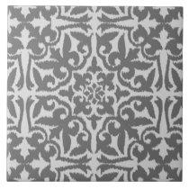 Ikat damask pattern - Light and Medium Grey Tile