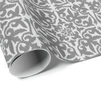 Ikat damask pattern - Light and Medium Grey Wrapping Paper