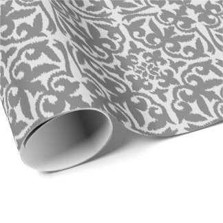 Ikat damask pattern - Light and Medium Grey Wrapping Paper