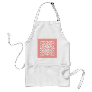 Ikat damask pattern - peach pink and white aprons