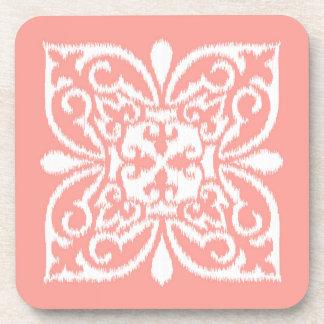 Ikat damask pattern - peach pink and white drink coaster