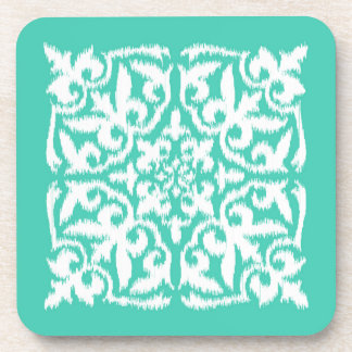 Ikat damask pattern - peacock blue and white beverage coasters
