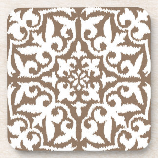 Ikat damask pattern - Taupe Tan and White Beverage Coaster