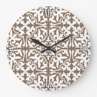 Ikat damask pattern - Taupe Tan and White Large Clock
