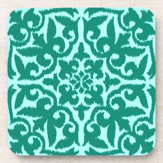 Ikat damask pattern - Turquoise and Aqua Drink Coaster