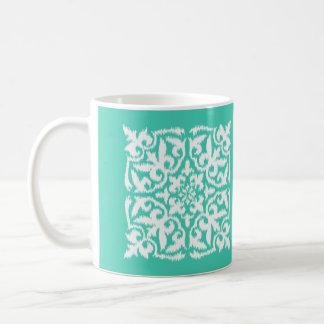 Ikat damask pattern - turquoise and white classic white coffee mug