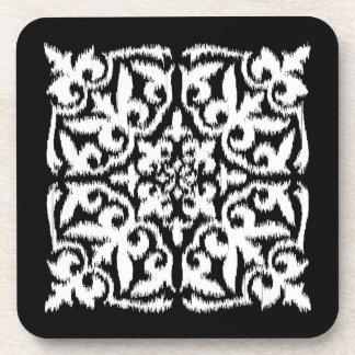Ikat damask pattern - white and black drink coaster
