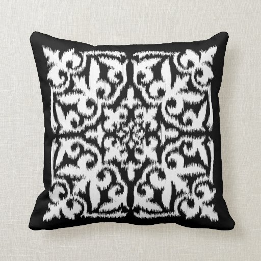 Black And White Patterned Throw Pillows : Ikat damask pattern - white and black throw pillow Zazzle