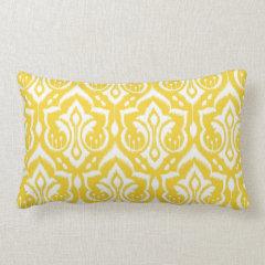 Ikat Damask - Sunshine Yellow Pillow