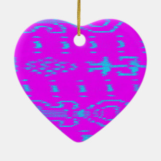 Ikat del azul y del pnk adorno navideño de cerámica en forma de corazón