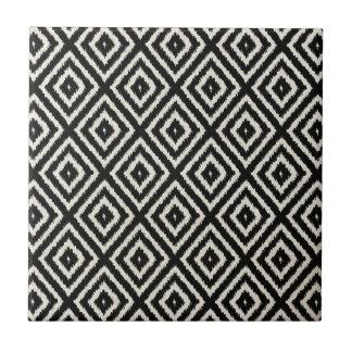 Ikat Diamond Pattern in Black and Cream Ceramic Tile