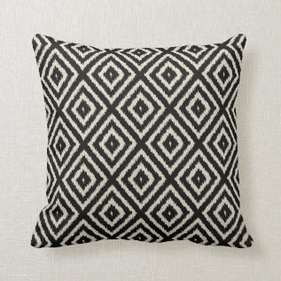 Ikat Diamond Pattern In Black And Cream Throw Pillow at Zazzle