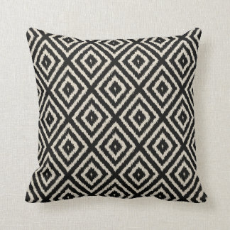 Ikat Diamond Pattern in Black and Cream Throw Pillow