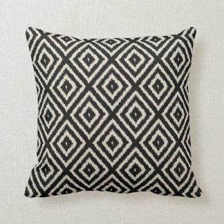 Ikat Diamond Pattern in Black and Cream Throw Pillow