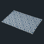 """Ikat Diamond Pattern in Navy Blue and Cream Cloth Placemat<br><div class=""""desc"""">Ikat Tribal Diamond Pattern in Navy Blue and Cream</div>"""