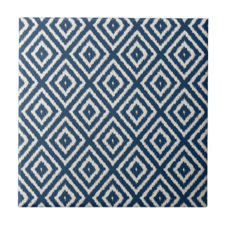 Ikat Diamond Pattern in Navy Blue and Cream Tiles