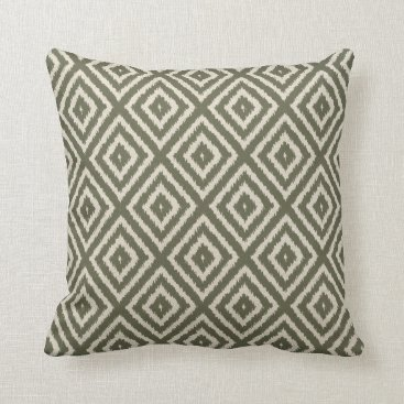 AnyTownArt Ikat Diamond Pattern in Olive Green and Cream Throw Pillow