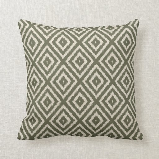 Ikat Diamond Pattern in Olive Green and Cream Throw Pillow
