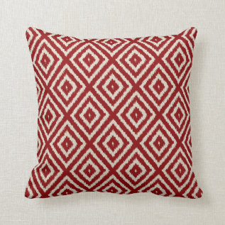 Ikat Diamond Pattern In Red And Cream Throw Pillow at Zazzle
