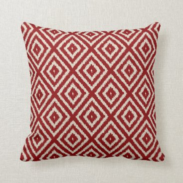 AnyTownArt Ikat Diamond Pattern in Red and Cream Throw Pillow