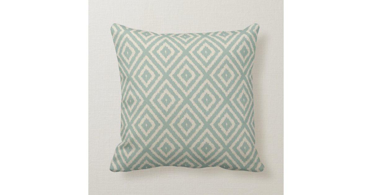 Ikat Diamond Pattern in Seafoam Green Cream Throw Pillow Zazzle