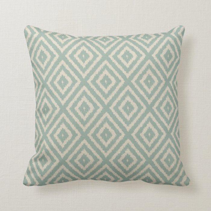 Ikat Design Throw Pillows : Ikat Diamond Pattern in Seafoam Green Cream Throw Pillow Zazzle