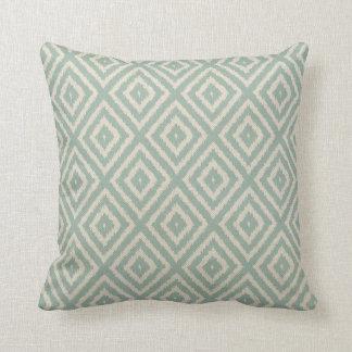 Ikat Diamond Pattern in Seafoam Green Cream Throw Pillow