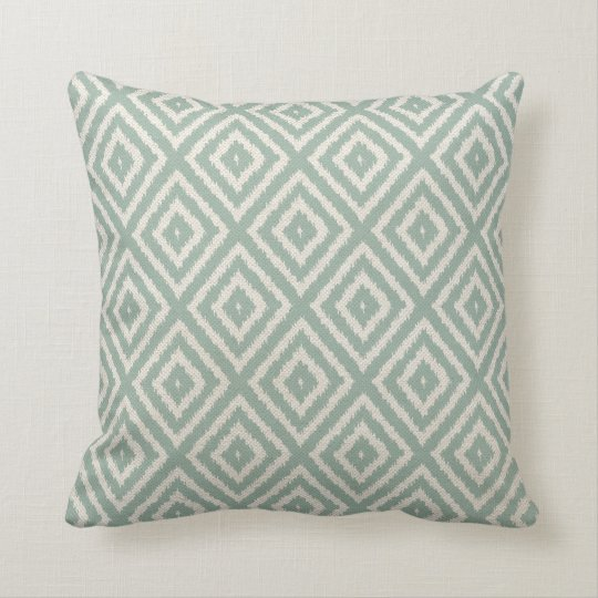 Ikat Diamond Pattern In Seafoam Green Throw Pillow