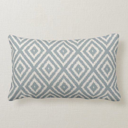 Ikat Diamond Pattern Light Blue And Cream Lumbar Pillow