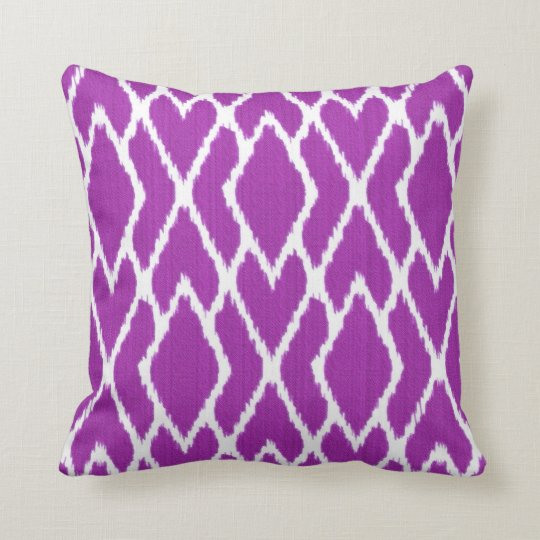 Purple And White Decorative Pillows : Ikat diamonds - Amethyst purple and white Throw Pillow ...