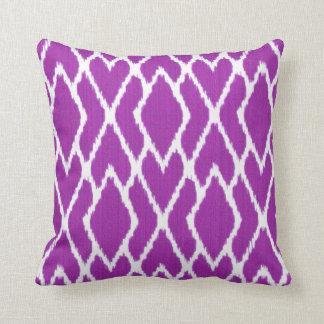 Ikat diamonds - Amethyst purple and white Throw Pillow