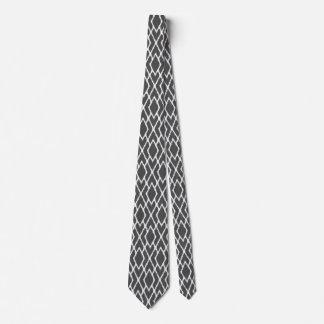 Ikat diamonds - Charcoal grey and white Tie