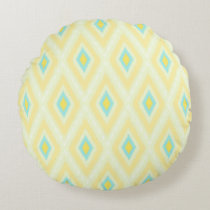 Ikat diamonds pattern yellow mint pillow