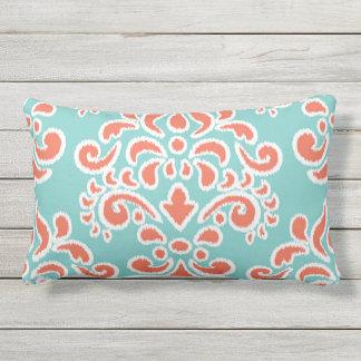 Ikat Floral Damask Aqua and Coral Lumbar Pillow